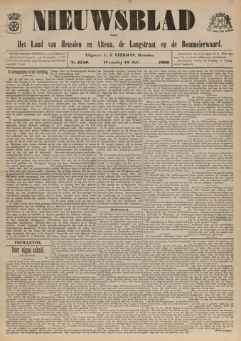 Nieuwsblad het land van Heusden en Altena de Langstraat en de Bommelerwaard 1906-07-18