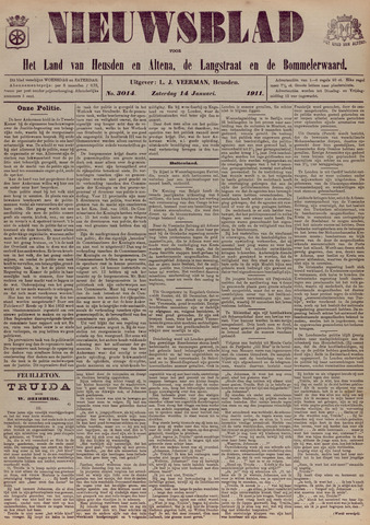 Nieuwsblad het land van Heusden en Altena de Langstraat en de Bommelerwaard 1911-01-14