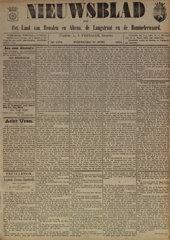 Nieuwsblad het land van Heusden en Altena de Langstraat en de Bommelerwaard 1894-06-27