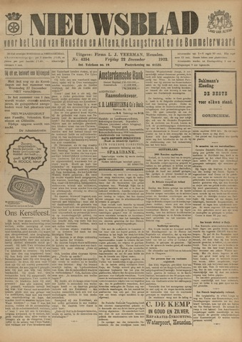 Nieuwsblad het land van Heusden en Altena de Langstraat en de Bommelerwaard 1922-12-22