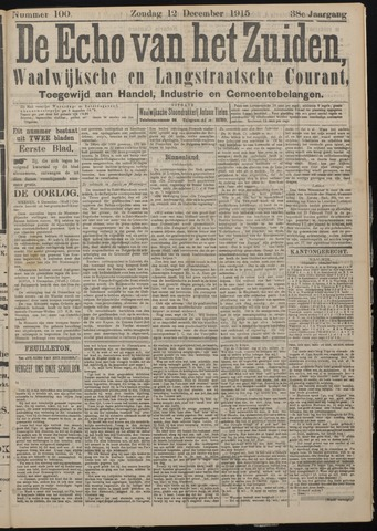 Echo van het Zuiden 1915-12-12
