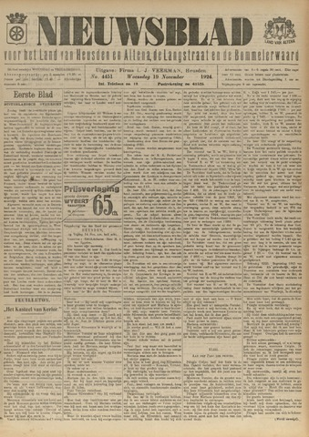 Nieuwsblad het land van Heusden en Altena de Langstraat en de Bommelerwaard 1924-11-19