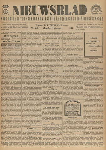 Nieuwsblad het land van Heusden en Altena de Langstraat en de Bommelerwaard 1921-09-17