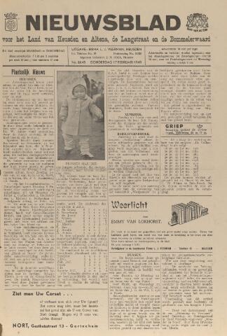 Nieuwsblad het land van Heusden en Altena de Langstraat en de Bommelerwaard 1949-02-17