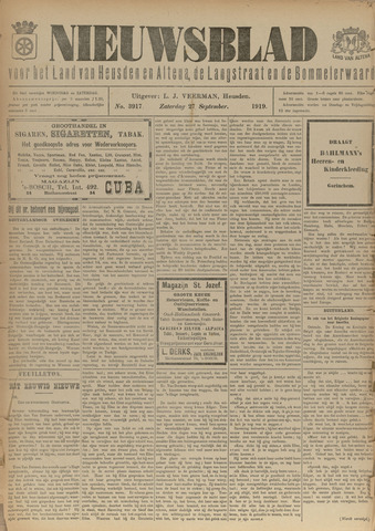 Nieuwsblad het land van Heusden en Altena de Langstraat en de Bommelerwaard 1919-09-27