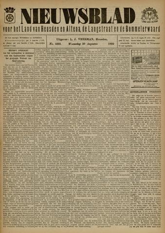 Nieuwsblad het land van Heusden en Altena de Langstraat en de Bommelerwaard 1922-08-30