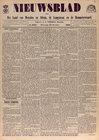 Nieuwsblad het land van Heusden en Altena de Langstraat en de Bommelerwaard 1906-11-28