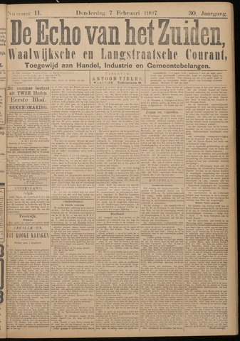 Echo van het Zuiden 1907-02-07