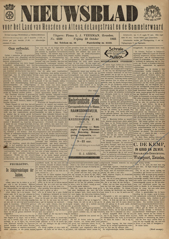 Nieuwsblad het land van Heusden en Altena de Langstraat en de Bommelerwaard 1923-10-19