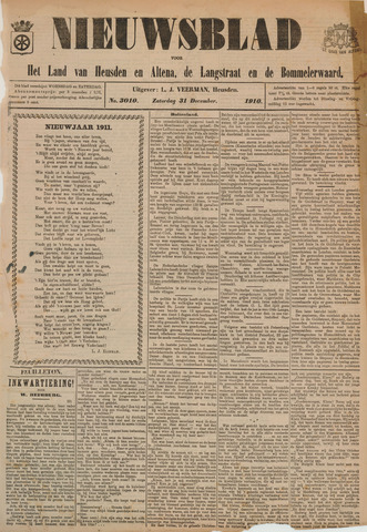 Nieuwsblad het land van Heusden en Altena de Langstraat en de Bommelerwaard 1910-12-31