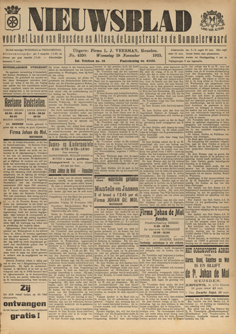 Nieuwsblad het land van Heusden en Altena de Langstraat en de Bommelerwaard 1923-11-28