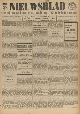 Nieuwsblad het land van Heusden en Altena de Langstraat en de Bommelerwaard 1922-11-03