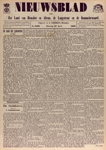 Nieuwsblad het land van Heusden en Altena de Langstraat en de Bommelerwaard 1909-04-10