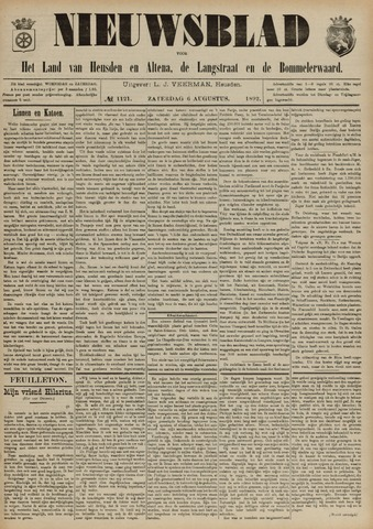 Nieuwsblad het land van Heusden en Altena de Langstraat en de Bommelerwaard 1892-08-06