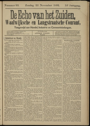 Echo van het Zuiden 1891-11-22