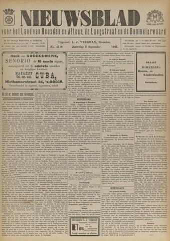Nieuwsblad het land van Heusden en Altena de Langstraat en de Bommelerwaard 1921-09-03