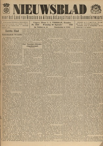 Nieuwsblad het land van Heusden en Altena de Langstraat en de Bommelerwaard 1925-09-30