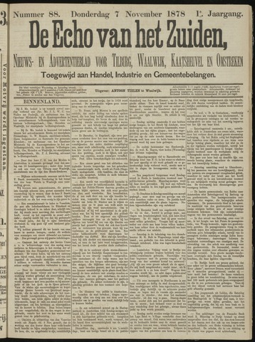 Echo van het Zuiden 1878-11-07