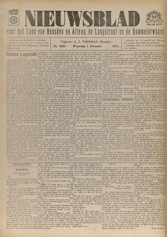 Nieuwsblad het land van Heusden en Altena de Langstraat en de Bommelerwaard 1918-12-04