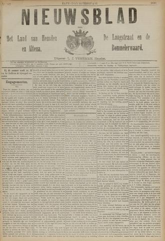 Nieuwsblad het land van Heusden en Altena de Langstraat en de Bommelerwaard 1891-02-14