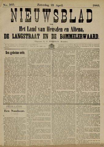 Nieuwsblad het land van Heusden en Altena de Langstraat en de Bommelerwaard 1883-04-21