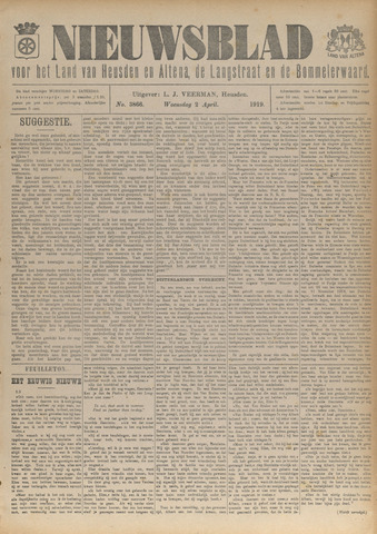 Nieuwsblad het land van Heusden en Altena de Langstraat en de Bommelerwaard 1919-04-02