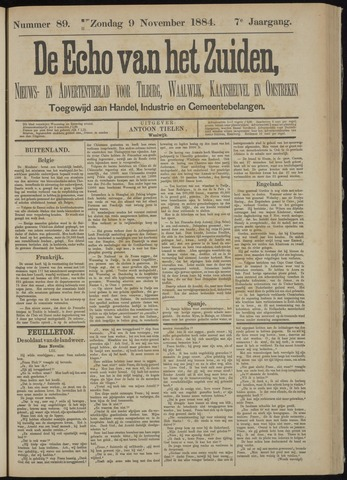 Echo van het Zuiden 1884-11-09