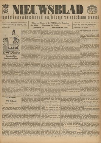 Nieuwsblad het land van Heusden en Altena de Langstraat en de Bommelerwaard 1922-10-18