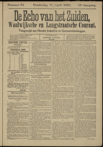 Echo van het Zuiden 1892-04-21
