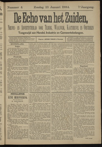 Echo van het Zuiden 1884-01-13