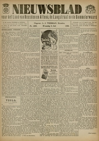 Nieuwsblad het land van Heusden en Altena de Langstraat en de Bommelerwaard 1922-07-05