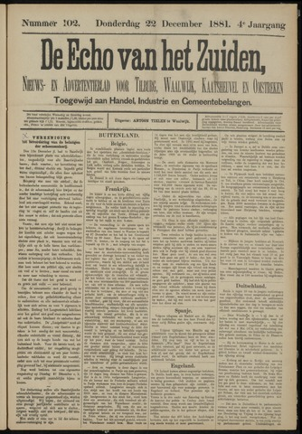 Echo van het Zuiden 1881-12-22