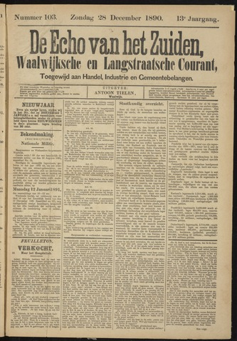 Echo van het Zuiden 1890-12-28