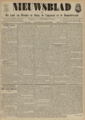 Nieuwsblad het land van Heusden en Altena de Langstraat en de Bommelerwaard 1892-08-03