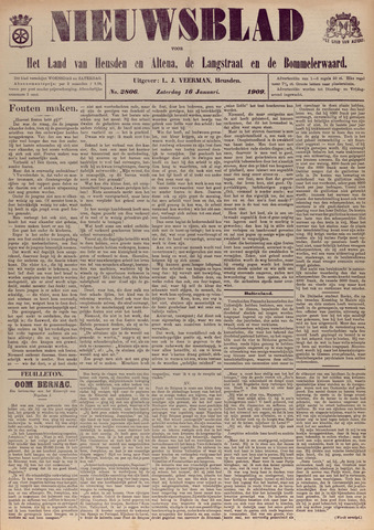 Nieuwsblad het land van Heusden en Altena de Langstraat en de Bommelerwaard 1909-01-16