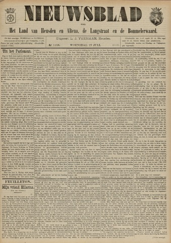 Nieuwsblad het land van Heusden en Altena de Langstraat en de Bommelerwaard 1892-07-27