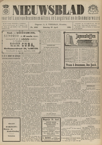 Nieuwsblad het land van Heusden en Altena de Langstraat en de Bommelerwaard 1921-04-30