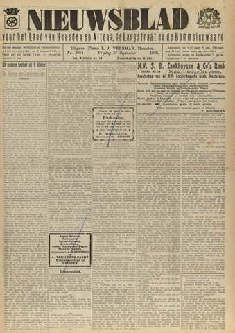 Nieuwsblad het land van Heusden en Altena de Langstraat en de Bommelerwaard 1929-09-27