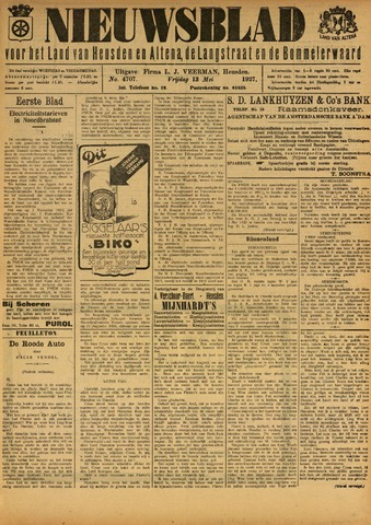 Nieuwsblad het land van Heusden en Altena de Langstraat en de Bommelerwaard 1927-05-13