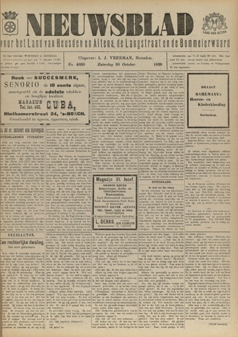 Nieuwsblad het land van Heusden en Altena de Langstraat en de Bommelerwaard 1920-10-30