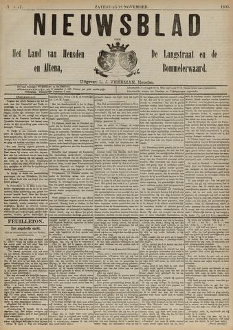 Nieuwsblad het land van Heusden en Altena de Langstraat en de Bommelerwaard 1891-11-21
