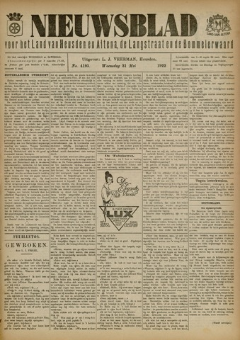 Nieuwsblad het land van Heusden en Altena de Langstraat en de Bommelerwaard 1922-05-31