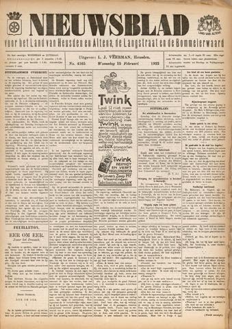 Nieuwsblad het land van Heusden en Altena de Langstraat en de Bommelerwaard 1922-02-15