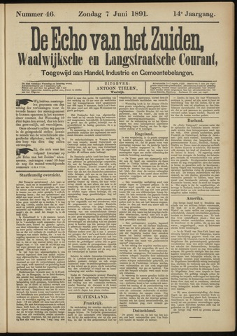 Echo van het Zuiden 1891-06-07