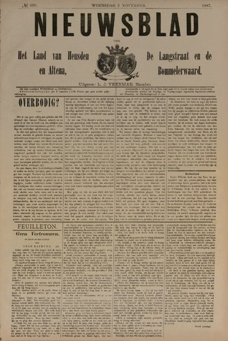 Nieuwsblad het land van Heusden en Altena de Langstraat en de Bommelerwaard 1887-11-02