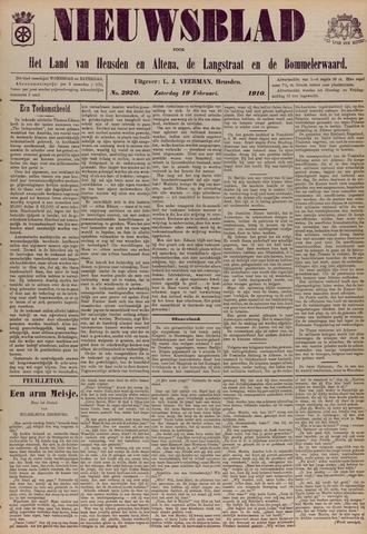 Nieuwsblad het land van Heusden en Altena de Langstraat en de Bommelerwaard 1910-02-19