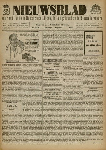 Nieuwsblad het land van Heusden en Altena de Langstraat en de Bommelerwaard 1922-08-05