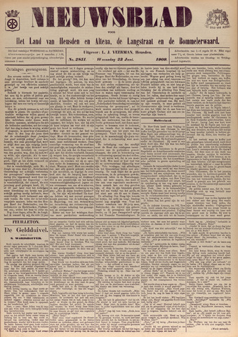 Nieuwsblad het land van Heusden en Altena de Langstraat en de Bommelerwaard 1909-06-23