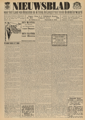 Nieuwsblad het land van Heusden en Altena de Langstraat en de Bommelerwaard 1928-10-26