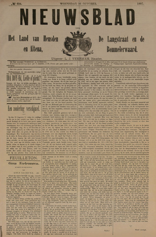 Nieuwsblad het land van Heusden en Altena de Langstraat en de Bommelerwaard 1887-10-26